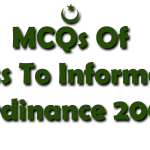 MCQs Of Access to Information Ordinance 2002-Ombudsman Test Data